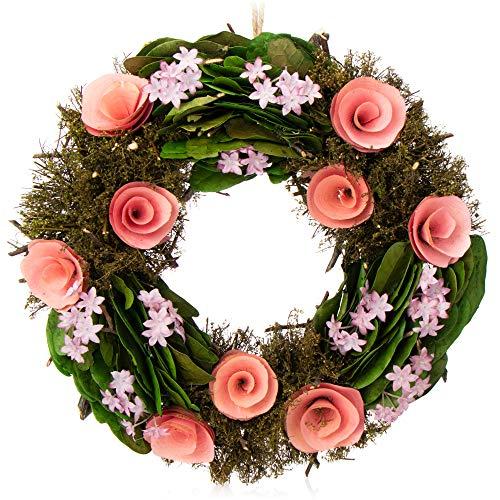com-four Ghirlanda Pasquale con Fiori in Legno, Ghirlanda Decorativa da tavola, Ghirlanda Porta con Gancio, Diametro ca.30 cm (Rosa. Viola)