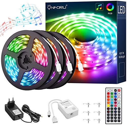 Onforu 15M RGB LED Strip, Farbwechsel Streifen 24V, 450er LED Band Selbstklebend, Farbig Lichtband mit 44 Tasten Fernbedienung, Flexibel Leuchtband Musiksynchronisierung für Bett, Zimmer, Party Deko