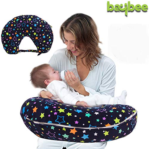 Baybee Baby Feeding Pillow for Mother-New Born Printed Portable Breast Feeding Pillow | Infant Support for Baby and Mom | Best for Breastfeeding Moms Multi Color
