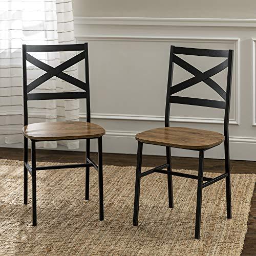 Walker Edison X-Back Dining Side Chairs, Set of 2, Barnwood