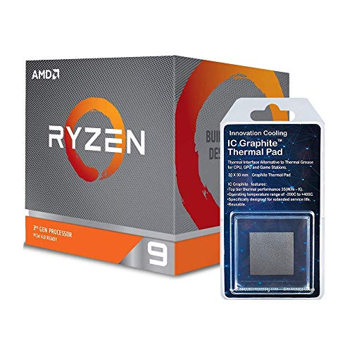 Special Bundle - AMD 100-100000023BOX Ryzen 9 3900X 12-core, 24-Thread Unlocked Desktop Processor with Wraith Prism LED Cooler + Innovation Cooling Graphite Thermal Pad (30 X 30mm)