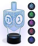 Ner Mitzvah Chanukah Decorative Light-up Acrylic Dreidel - Hanukkah Led Multicolored Party Decor - Holiday Decoration for Table - High Tech Hanuka Centerpiece Gadget