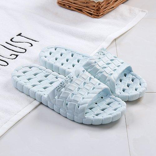 fankou Hausschuhe Hausschuhe Sommer Hause Schuhe rutschfeste weichen Boden Männer gestreiften kalten Bäder und Paare Hausschuhe weiblich, 37-38, hellblau ausgesetzt hellblau