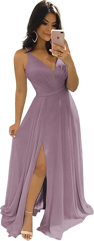 BONOYUER Women's V Neck Bridesmaid Dresses for Wedding A-line Chiffon Open Back Long Evening Formal Dress with Slit