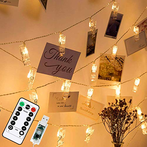 40 LED Photo Clip Fairy Lights, 20ft/6m 8 Modes with Remote USB Plug in Photo Peg String Lights for Indoor Bedroom Wedding Party Home Photo Wall