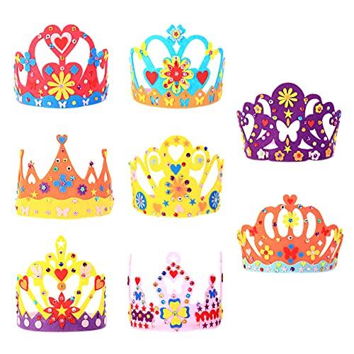 MEZOOM 8Pcs Princesse Tiare Diadème Artisanat Loisir Creatif Fourniture Princesse Couronnes Enfant Chapeau Prince Crown Fille Anniversaire Cadeau Décoration Fete Accessoire