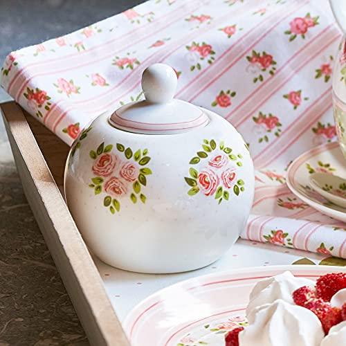 Azucarero de Porcelana con Tapa, Frasco de Azúcar, Recipiente de Azúcar para Hogar y Cocina Romántico Rústico Shabby Chic - Floral - Blanco/Rosa