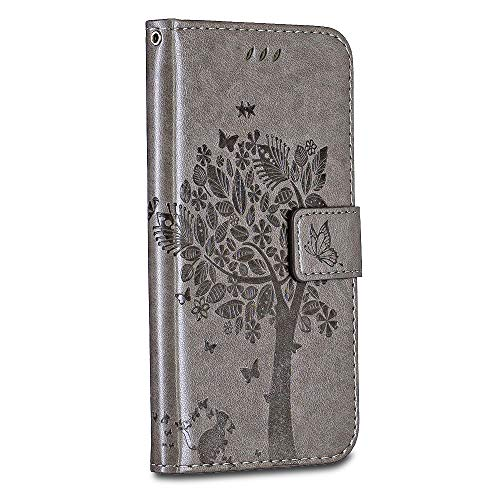 Casake Sony Xperia L2 Case [Emboss] with [Magnetic Closure][TPU Inner Shell][Card Slots] Leather Flip Case Compatible with Sony Xperia L2 -Gray