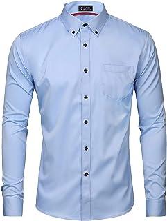 Musen Men Dress Shirt Slim Fit Casual Solid Elastic Button Down Long Sleeve Formal Business Shirt
