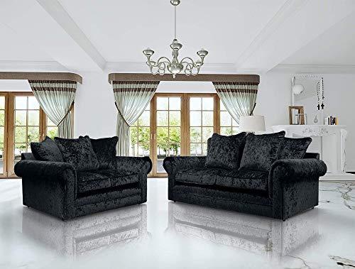 HHI - Black Crushed Velvet sofas & Couches- 3+2 seater sofa -3 Seater sofa - 2 Seater sofas For Living Room Include Cushions UK Main Land