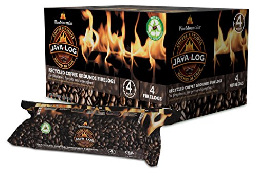 Pine Mountain, Indoor & Pine Mountain Java Recycled Coffee Grounds Hour Time, 4 Logs (4152501471) Long Burning Firelog for Campfire, Fireplace, Fire Pit, Indoor & Outdoor Use, Brown, 4 count