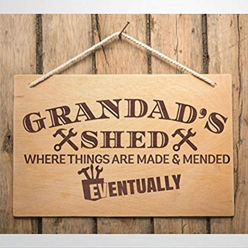 BYRON HOYLE Wood Hanging Sign Grandad Daddy Uncle Step Father Family Friends Birthday Christmas Xmas Fathers Day Grandad's Shed Funny Wooden sign Wood Plaque Wall Art wall hanger Home Decor