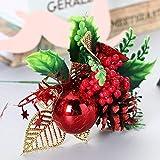 TIANHOO Composizione Floreale Natalizia, Natale Pigne Artificiali Berry Steli Decor Bouquets Fiori Artificiali Ghirlanda Decorativa Ornamenti per Alberi-5 Pezzi (Rosso)