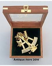 Samara - Sextante náutico de latón macizo con caja de madera, astrolabio marítimo, navidad marina