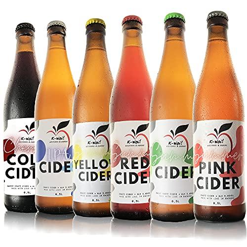 K-Woi! Summer Cider 6er-Probierset (6 x 0,5l), Trockener Cider Probierpaket aus Deutschen Streuobst- und Lokalen Apfelwiesen, Hergestellt von Direktsaft ohne Konzentrat