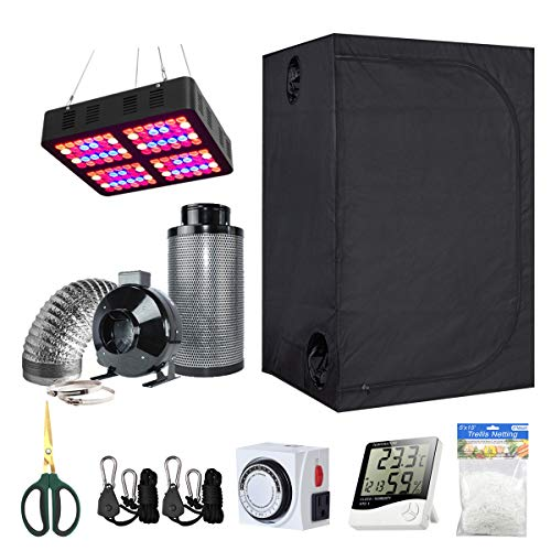 BloomGrow 60''x32''x80'' Kit Grow Tent + 6'' Fan Filter Duct Combo + 600W LED Light + Hangers + Hygrometer + Shears + 24 Hour Timer + Trellis Netting Indoor Grow Tent Complete Kit