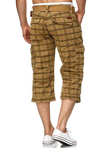 Indicode Indicode Herren Nicolas Check 3/4 Cargo Shorts kariert mit 6 Taschen inkl. Gürtel aus 100% Baumwolle   Kurze Hose Sommer Herrenshorts Short Men Pants Cargohose kurz für Männer Amber Check M