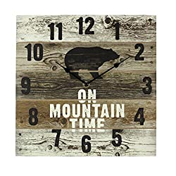 Young's Mountain Time Bear Wooden Wall Clock with Hands, 12 x 2 x 12