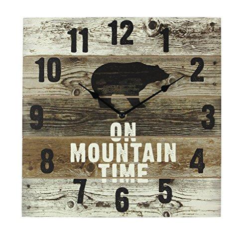 Youngs Jóvenes en la montaña Tiempo Oso de Madera Reloj de Pared con Las Manos, 12'X 2' x 12'