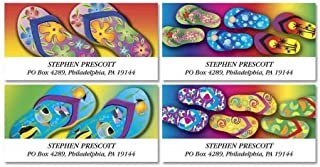 Flip Flop Fun Personalized Return Address Labels- Set of 144, Large Self-Adhesive, Flat-Sheet Labels (4 Design) By Colorful Images