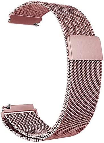 Niboow 20mm Correa Compatible con Samsung Galaxy Watch 4 40mm, Ajustable Correa, Magnética Pulsera Acero Inoxidabl, Para Samsung Galaxy Watch 42mm/Active 2 (40 mm/44 mm)/Samsung Gear Sport-Rosado.
