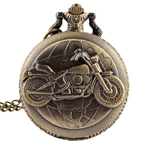 LiQinKeJi8 Reloj de Bolsillo Bronce Motocicleta Motorbike Moto Bolsillo Reloj Collar Colgante Mens Regalo para Hombres Mujeres (Color : Show as The Picture)