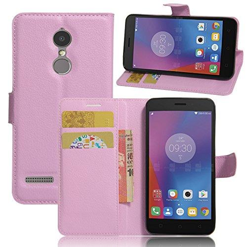 Kihying Hülle für Lenovo K6 / K6 Power Hülle Schutzhülle PU Leder Flip Wallet Fashion Geschäft HandyHülle (Pink - JFC08)