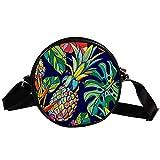 Borsa a tracolla rotonda piccola borsa da donna alla moda borse messaggero borsa in tela di canapa accessori per le donne - colorato ananas Palm estate