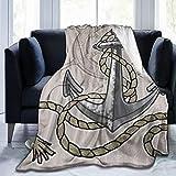 LISNIANY Manta de Franela Suave,Cuerda de yelmo de Ancla Vieja,Cama de Camping para sof 204x153cm