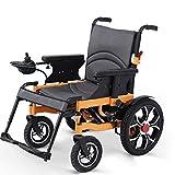 Silla de ruedas portátil plegable, silla de ruedas eléctrica ligera de doble función (batería de iones de litio 12A) para uso doméstico y al aire libre, ancho del asiento 50 cm, carga de carga 100 kg