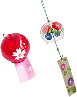 2X Hand Painted Glass Wind Chimes Wind Bell Home Garden Decor Craft Ornament Gifts Oriental Cherry & Morning Glory