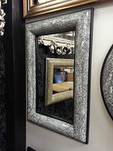 Agrietado diseño de lazo marco negro espejo de pared mosaico de cristal...