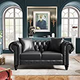 """CITYLIGHT 63"""" Deep Button Tufted PU Leather Couch Love Seats Furniture, Loveseat Sofa Couches for Small Spaces, Chesterfield Sofa with Roll Arm and 2 Pillows, Grey Couch"""