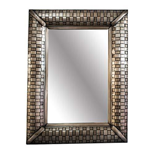 Espejo de lámina martillada con diseño tejido Color cobrizado, Tamaño 60x80. Hecho en México por Artesanos Mexicanos
