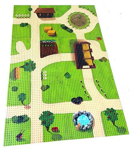 Modbrix 6 x Bedruckte Grundplatte City Bauernhof Grundplatten, 32 x 32 Noppen Bauplatte, 25.5 x 25.5 cm - unendlich erweiterbar