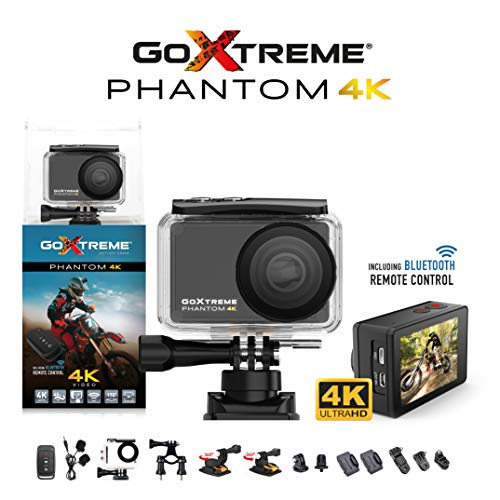 Easypix GoXtreme \'Phantom\' 4K Action Cam mit Webcam-Funktion, 170째 Weitwinkel, WiFi, Bluetooth, 40 m wasserfest, 20155