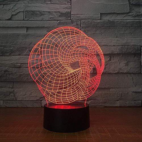 Jugendstil Abstracte 3D-verlichting 7 kleuren LED nachtverlichting voor kinderen Touch LED USB tafel Lampara lamp baby slaap nachtlicht Party Gi