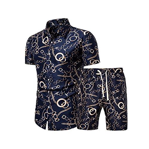 SSMDYLYM Camisa de la Flor de los Hombres de la Moda Pantalones de Playa, impresión Floral Mangos de Manga Corta con Traje de Pantalones (Color : Blue, Size : XXL Code)