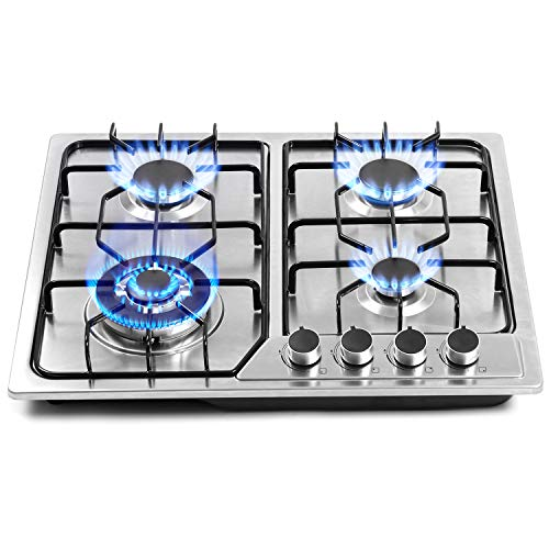 22″x20″ Built in Gas Cooktop 4 Burners Stainless Steel Stove with NG/LPG Conversion Kit Thermocouple Protection and Easy to Clean (20Wx22L)