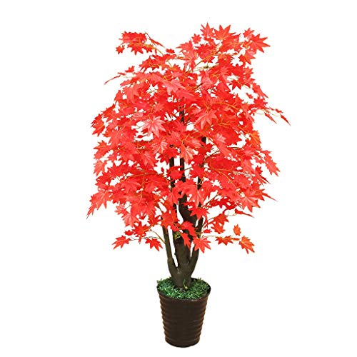 Artificial Tree Simulation Plant Potted Artificial Maple Interior Decoration Fake Tree Living Room Decoration Fake Bonsai (Color : Red, Size : 5132 inches)