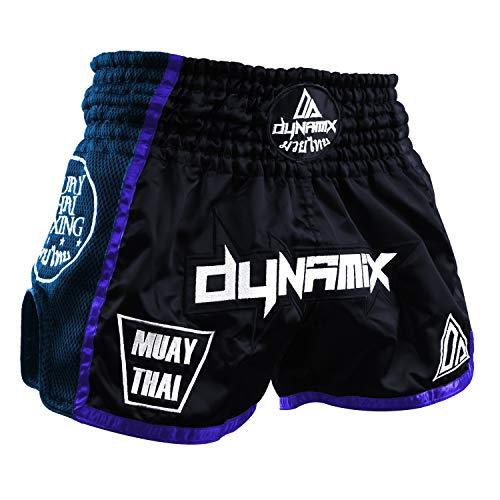 Dynamix Athletics Muay Thai Shorts Warpath - Navyblau - Premium Thai Short für Thaiboxen traditionelle Thaiboxhose für Herren mit Air-Tech-Gewebe und einzigartigen Muay Thai Stickereien (M)