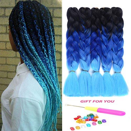 Ombre Jumbo Braids Hair Kanekalon Braiding Hair Synthetic Hair Extensions for Jumbo Braiding Crochet Twist Box Braids 24 Inch 3 Tone Black to Dark Blue to Deep Skyblue 5 Packs Jumbo Braiding Hair
