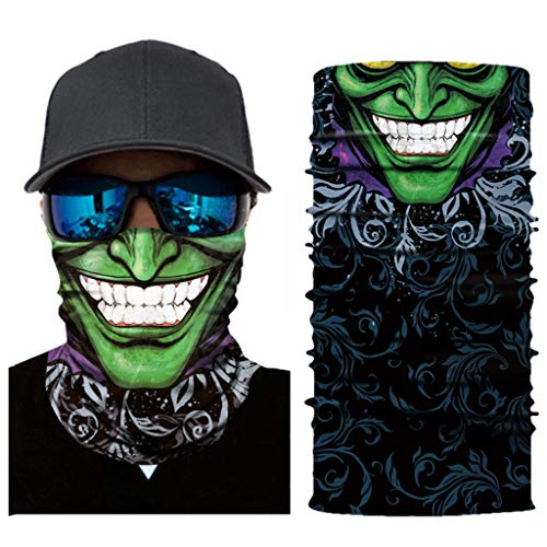 Aawsome 17 estilos unisex sin costuras mágico motocicleta cabeza bufanda verde espantoso gigante payaso calavera impreso calentador de cuello cara máscara fiesta cosplay pasamontañas diadema F