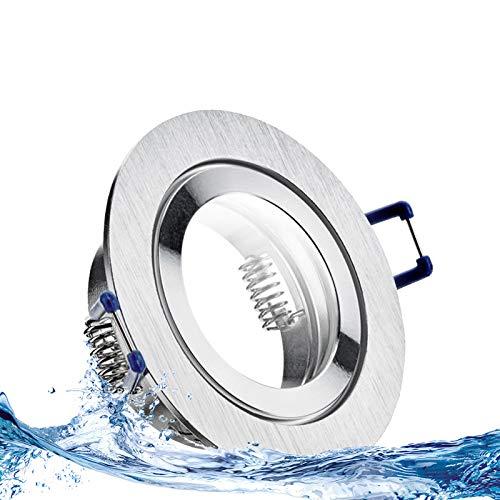 MARE IP44 5er Set LED Bad Einbaustrahler 5W dimmbar extra flach 230V Decken Spot Aluminium gebürstet rund Neutral-Weiß (4000k) nur 35 mm Einbautiefe für Bad, Feuchtraum + außen