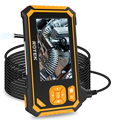 Industrial Endoscope,ROTEK 5M 1080P HD 4.3inch LCD Screen 2600mAh Rechargeable Battery Borescope, IP67 Waterproof Inspection Camera with 6 LED Lights Digital Video Recording Handheld Endoscope(16.4ft)