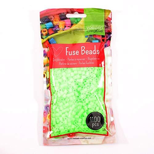 Vaessen Creative Perlas Fusibles, Verde Neón, Set de 1100 Piezas DIY para Niños, Creación de Joyas, Decoraciones Hechas en Casa y Otras Ideas de Manualidades, 5mm