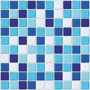 Ecoart 6 Piezas Decorativos Adhesivos para Azulejos Pegatina de Pared, Azulejos de Gel, Diseño de Mosaico, Efecto 3D, Cenefa Autoadhesivo, para Baño y Cocina(Azul y Blanco)