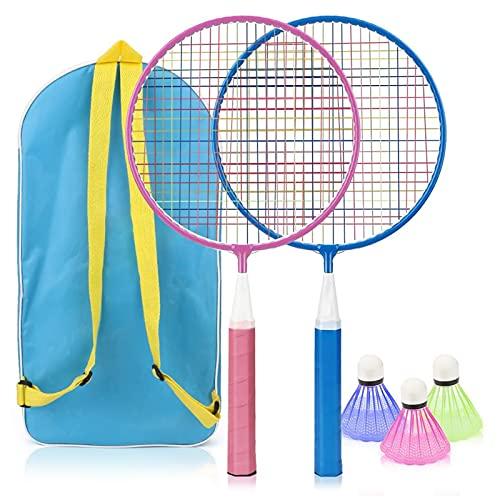 Set de Badminton, otutun Badminton Niños Raqueta de Bádminton al Aire Libre, Juego de Raquetas de Bádminton para Niños con 2 Raquetas de Bádminton y 3 Volantes, para de Playa al Aire Libre