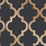 Tempaper MA10636 Marrakesh | Designer Removable Peel and Stick Wallpaper, 28 sq. ft, Midnight & Metallic Gold
