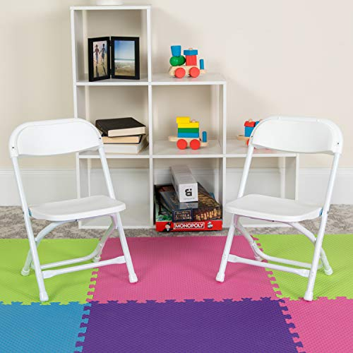 BizChair 10 Pack Kids White Plastic Folding Chair
